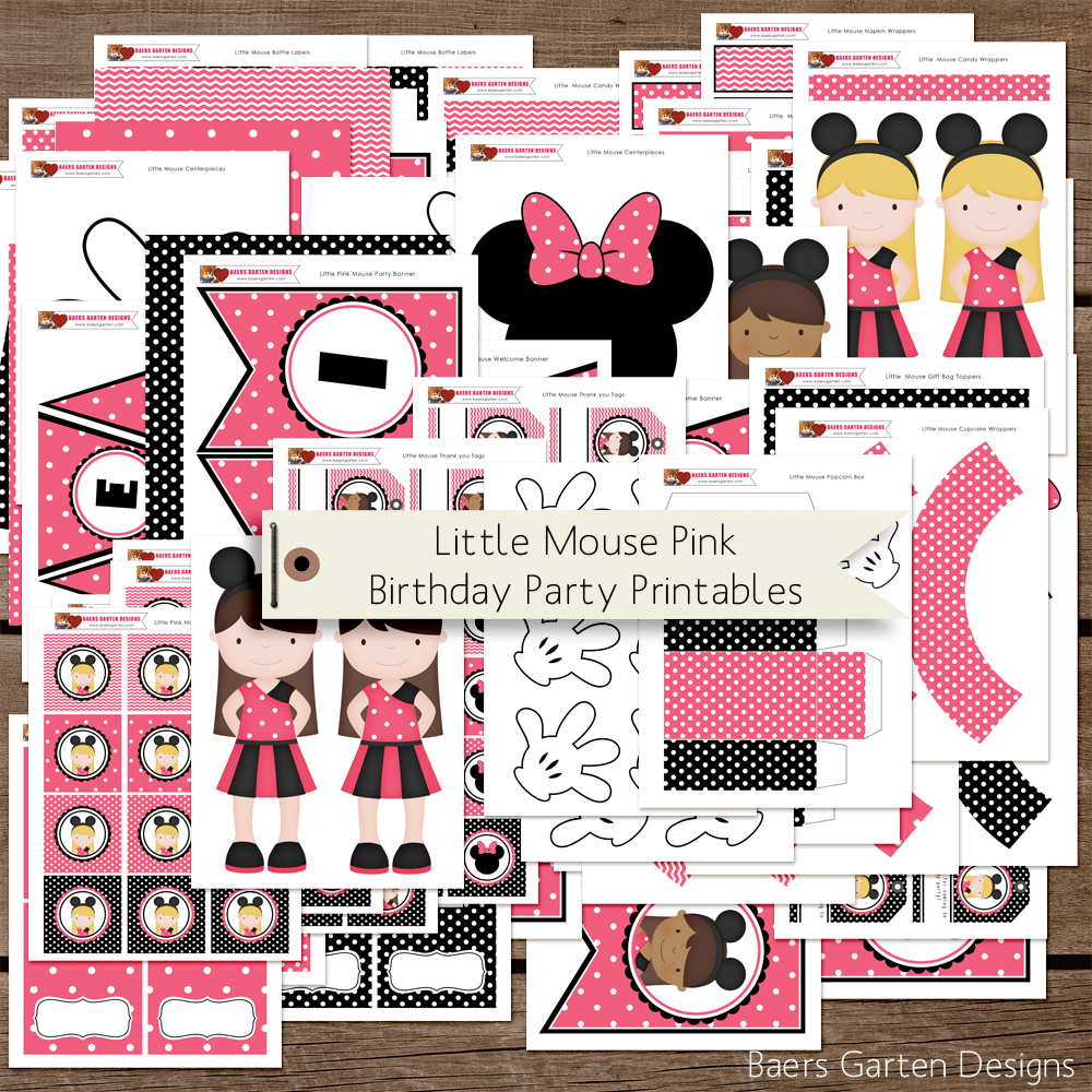 minnie mouse inspired birthday party printables baers garten designs. Black Bedroom Furniture Sets. Home Design Ideas