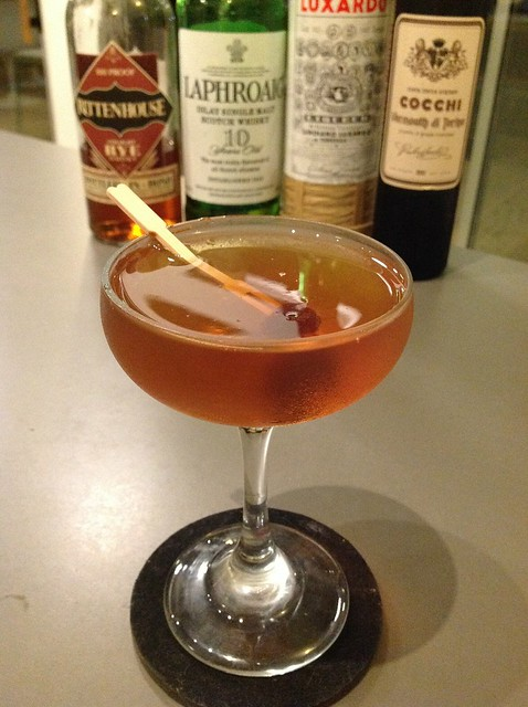 Meat Hook ( Shaun Layton) with Rittenhouse 100 rye whiskey, Cocchi vermouth di Torino, Luxardo maraschino liqueur, Laphroaig 10 year Scotch whisky #cocktail #cocktails #craftcocktails #whiskey #whisky #scotch #experimentalcocktailclub