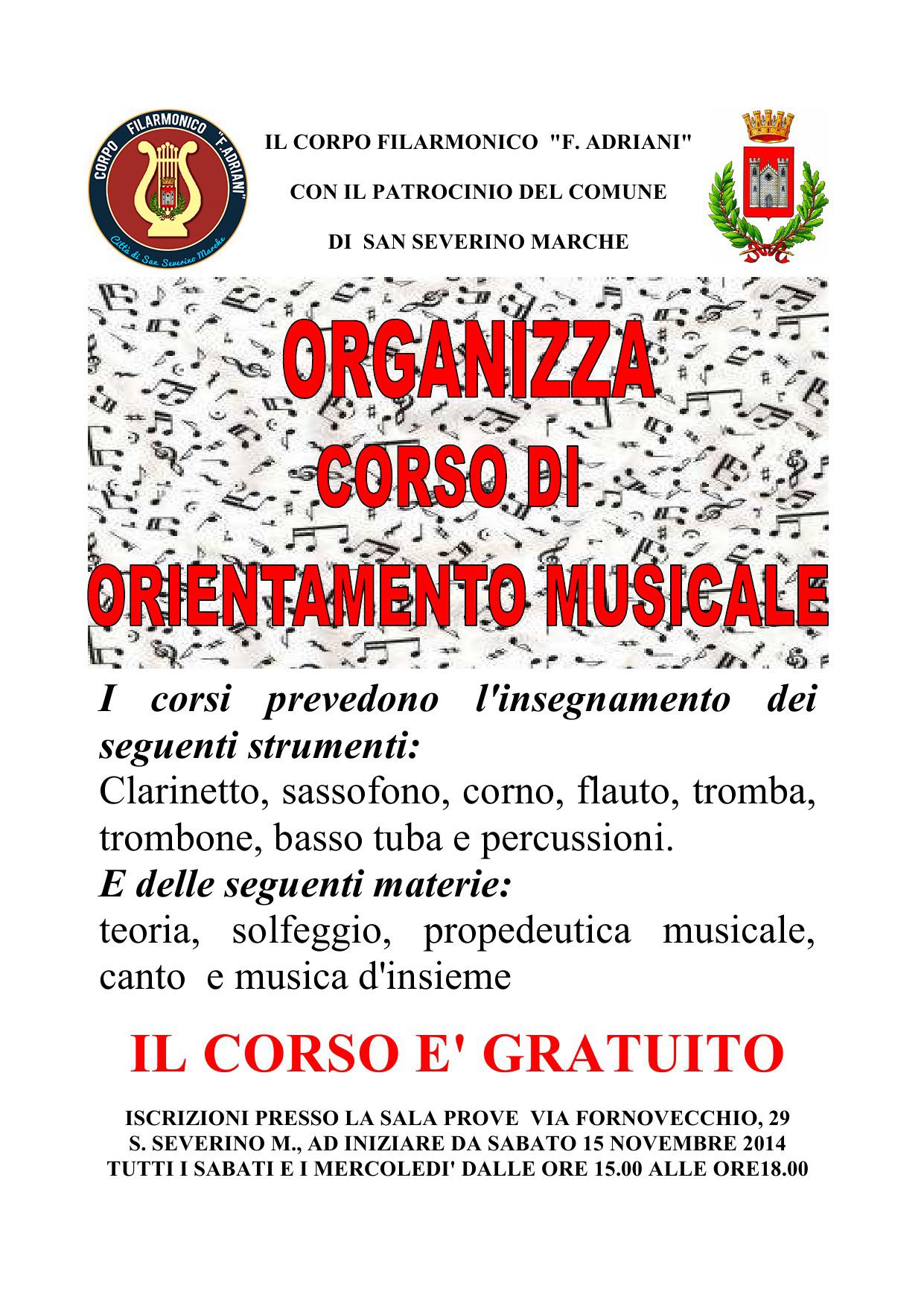 """CORSO indirizzo bandistico 2014/2015 CORPO FILARMONICO """"F.ADRIANI"""""""