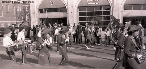 Tri-X Files 84_31.18a: MHS Band in front of the Fire Station (5/5)