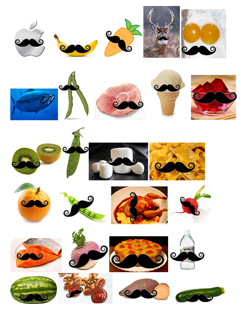 alphabet foods with mustaches