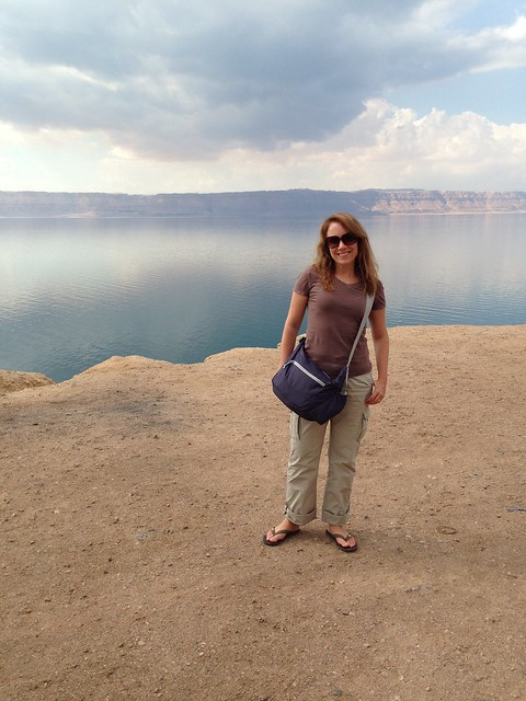 What To Wear In Jordan - Rachelle wearing a t-shirt, cargo pants, and flip flops.