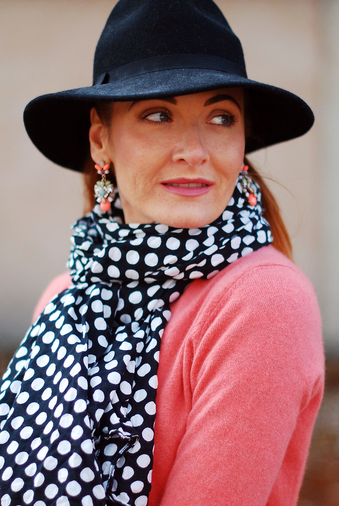 Coral cashmere and black polka dots - fall style