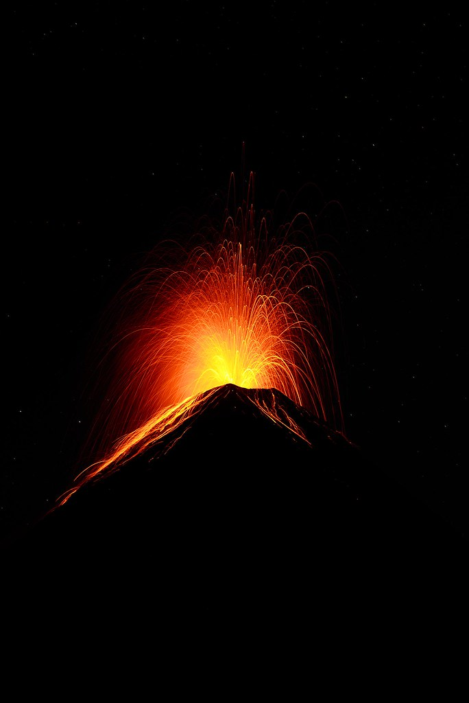 Lava fountain at Volcán de Fuego - Antigua