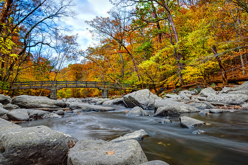 longexposure bridge autumn fallleaves creek washingtondc stream fallcolors boulders rockcreekpark rockcreek rapidsbridge insiteimage