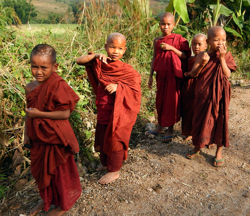 Some child monks on our Inle Lake trek in Myanmar