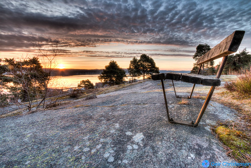 morning trees sun norway rock clouds sunrise bench landscape fjord drammen