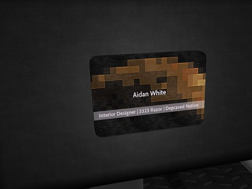 Image Description: Close up of Aiden White's Business Card.