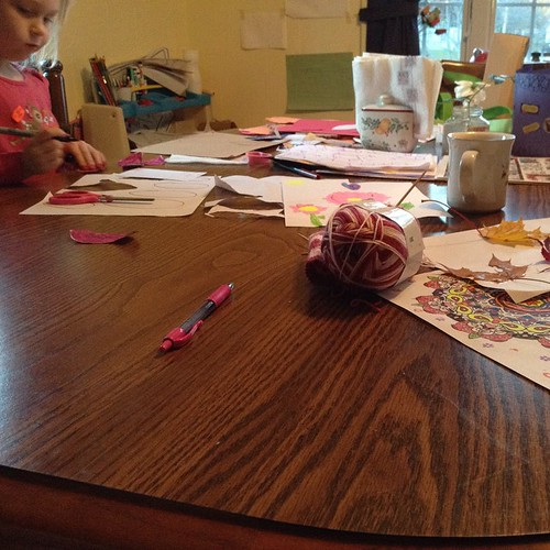 End of the day gratitudes:: morning walks; collecting leaves; leaf creations; messy table; soup simmering; apple pie baking; writing with my girl while the baby plays at our feet #gratitudeweek_2014