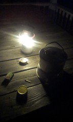 When i came home last night, the windstorm had knocked out the powe. Time to break the Trangia out to make tea.