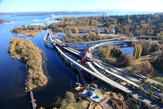 An aerial view of the West Approach Bridge North Project
