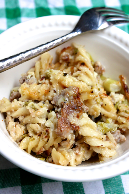 Spicy Sausage Mac and Cheese with Broccolini