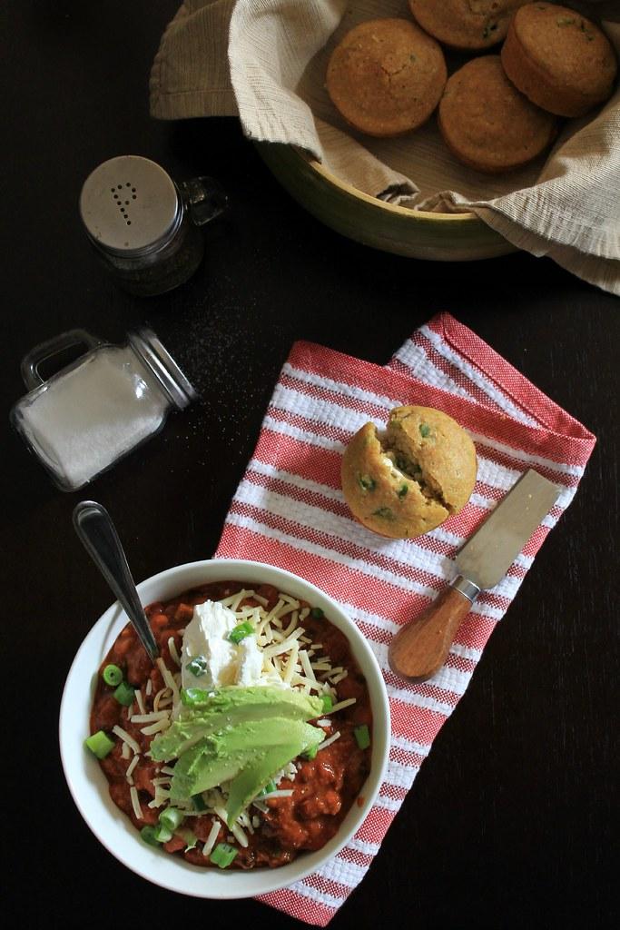 recipe: 3-bean chili + jalapeno cornbread