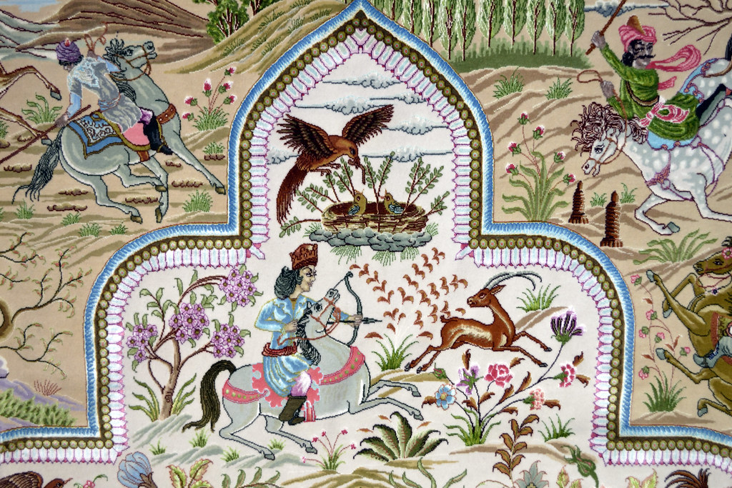 Tabriz 70 Raj - hunting scene Fine 7x10 (9)