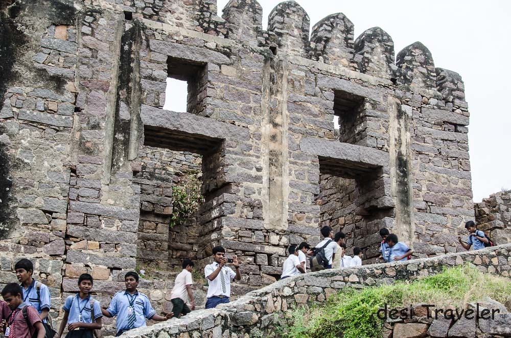 Students visiting Golconda Fort Bhakta Ramadas prison