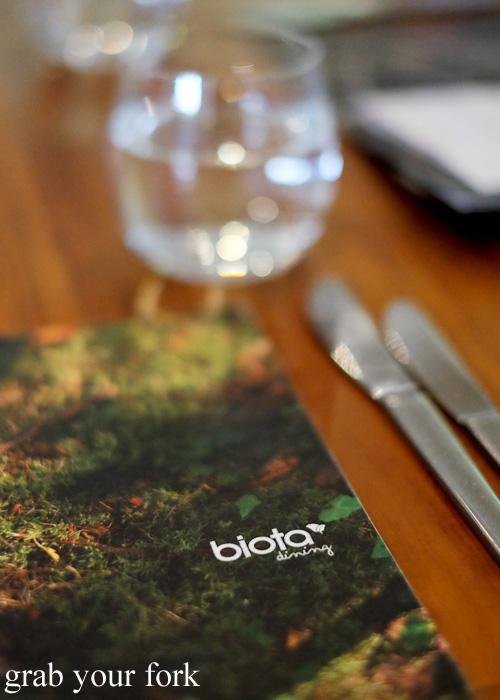 Biota Dining menu Bowral