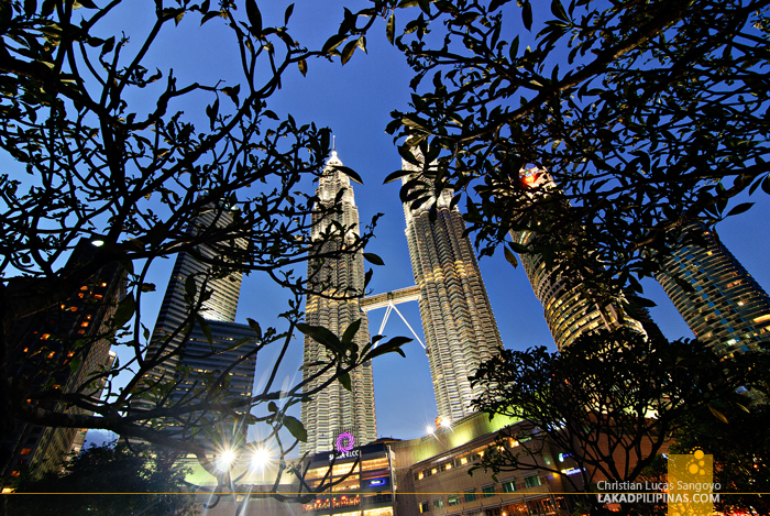 The Petronas Towers from the Park in Kuala Lumpur, Malaysia