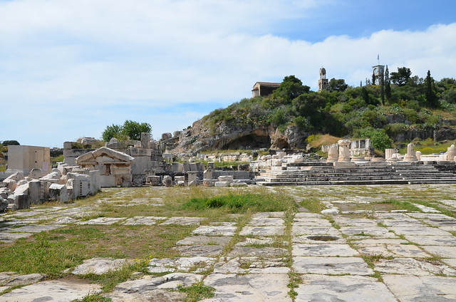 The entrance square to the sanctuary, the steps lead up to the Greater Propylaia, Eleusis
