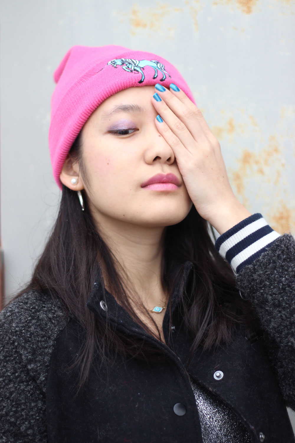 Pink and electric blue unicorn beanie and bomber jacket