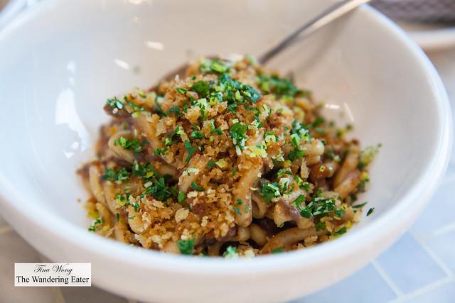 Gemelli, mushroom bolognese, black truffle tofu, breadcrumbs