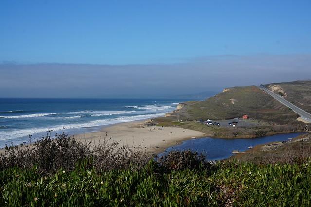 One of many nice sandy beaches north of Santa Cruz