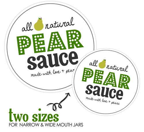 Pear Sauce canning label printable in 2 sizes
