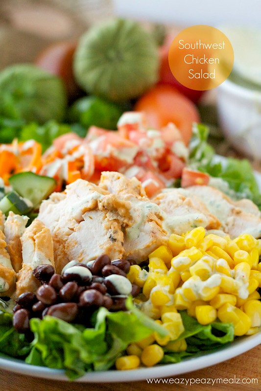 Southwest Chicken Salad on a plate with fresh vegetables.
