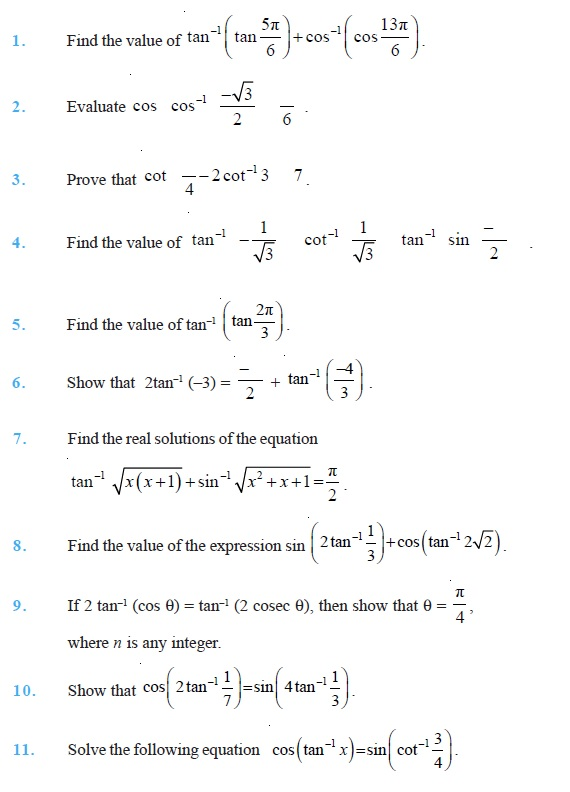 Class 12 Important Questions for Maths Inverse Trigonometric – Inverse Functions Worksheet Answers