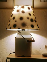 Dotted desk lamp made from enamel milk can
