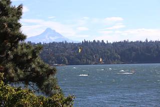 Kite Surfing, with a pretty impressive back drop.  Oregon, USA.