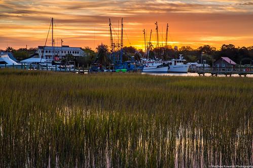 sunrise canon boats morninglight dock mountpleasant southcarolina charleston shrimpboat shemcreek
