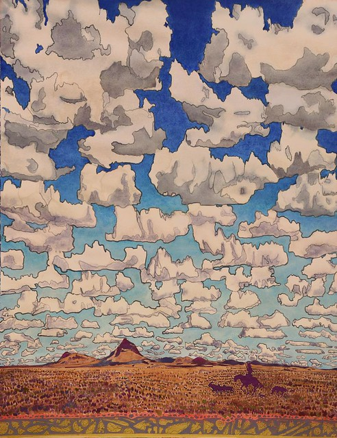 Aaron Morse, Cloud World, 2014, watercolor on paper