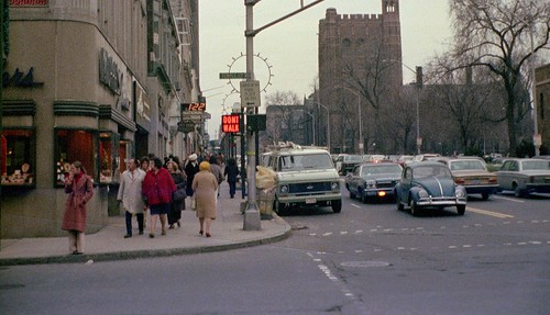 A split second of daily life caught from 41 years ago at the corner of Chapel and Temple Streets looking toward Yale University in New Haven, Connecticut two days after Christmas 1974