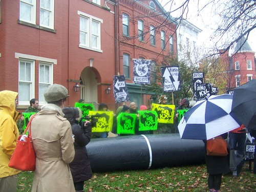 Anti Keystone pipeline demonstration outside of the DC house of Louisiana Senator Mary Landrieu, 11/17/2014