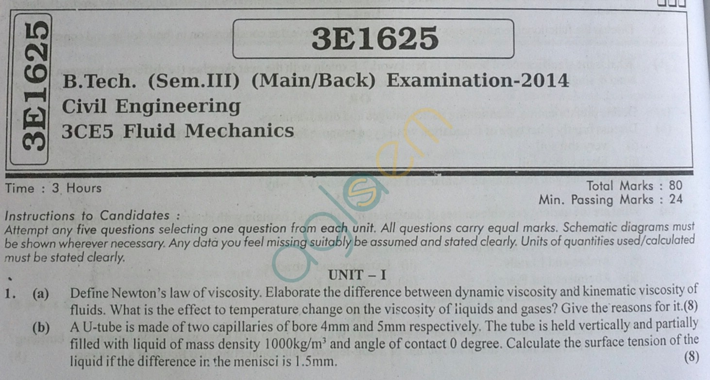 RTU: Question Papers 2014 - 3 Semester - CE - 3E1625