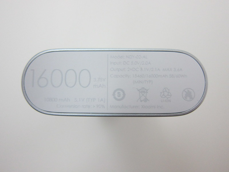 Xiaomi Mi 16,000mAh Power Bank - Bottom