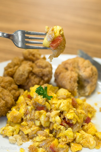 Ackee and Saltfish with Fried Bread