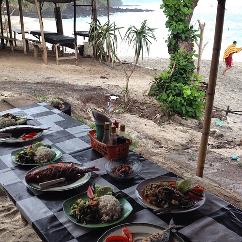 New Years spread on the beach at padangbai