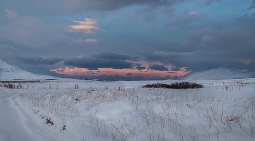 sunset sea sky sun snow nature landscape iceland shadows straws svalbarðseyri svalbarðsströnd northiceland