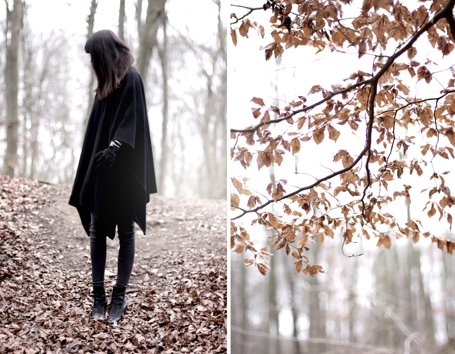 forest dark mystic scary black cape witch girl brunette bangs skinny babe winter wild wanderlust nature blog fashion fashionblog hannover germany 2