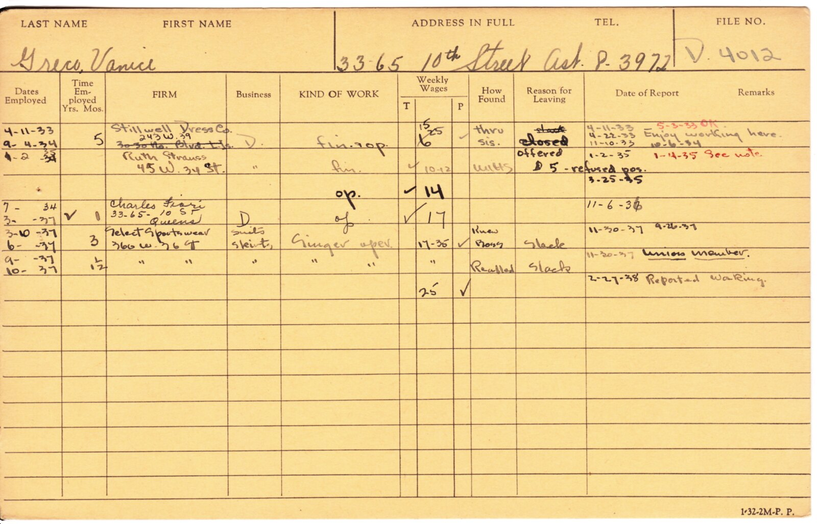 permanent record 2014 the card indicates that vanice went to work for her on jan 2 1935 but under reason for leaving
