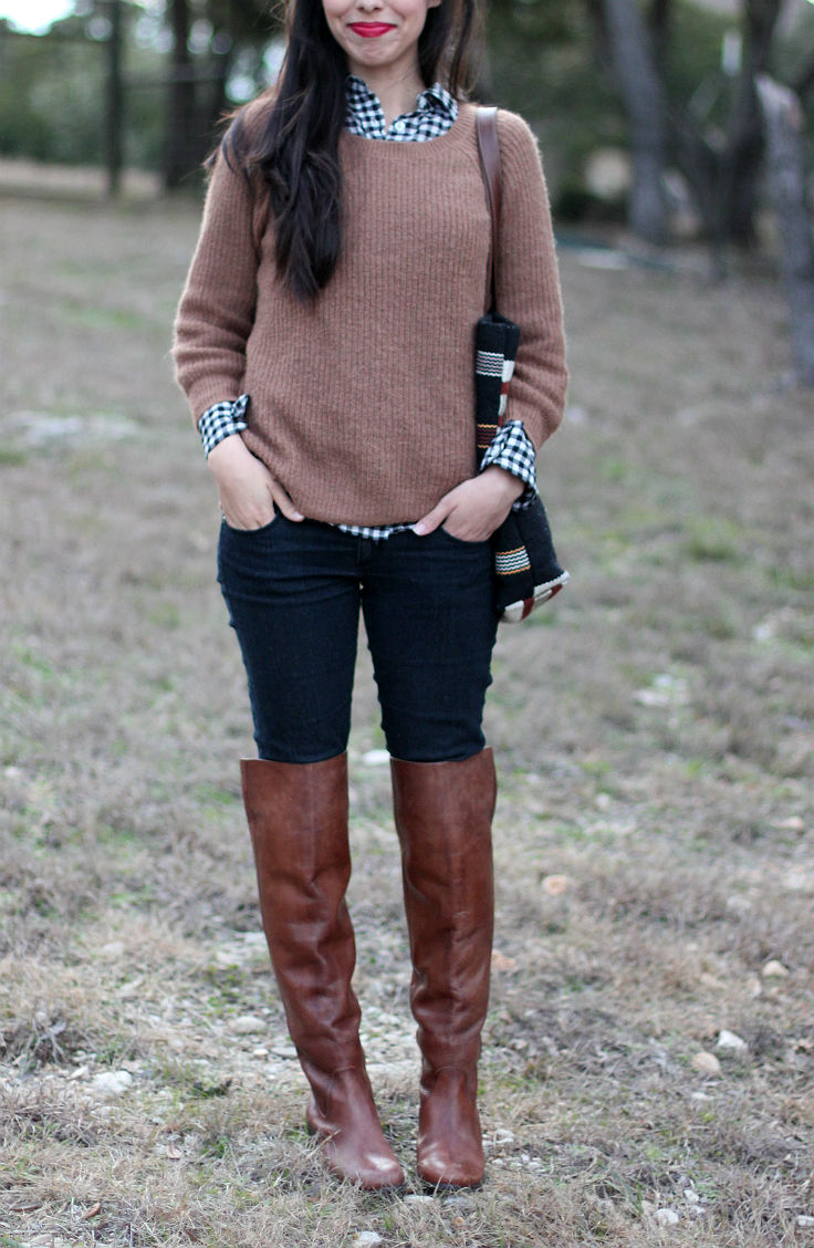 casual winter outfit ideas inspiration, brown leather over the knee boots