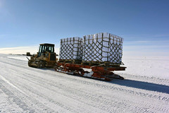Moving the ice cores from the drill site to South Pole Station