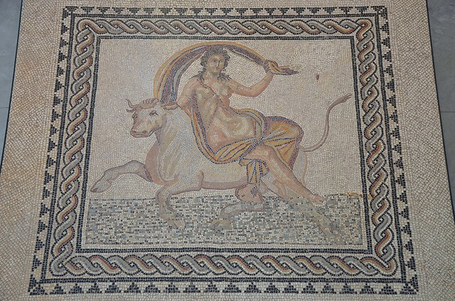 Mosaic pavement depicting Europa being carried across the sea by the bull-shaped god Zeus, found ca. 1900 in Trinquetaille (Arles), end of 2nd century - beginning of 3rd century AD, Musée de l'Arles antique, Arles, France