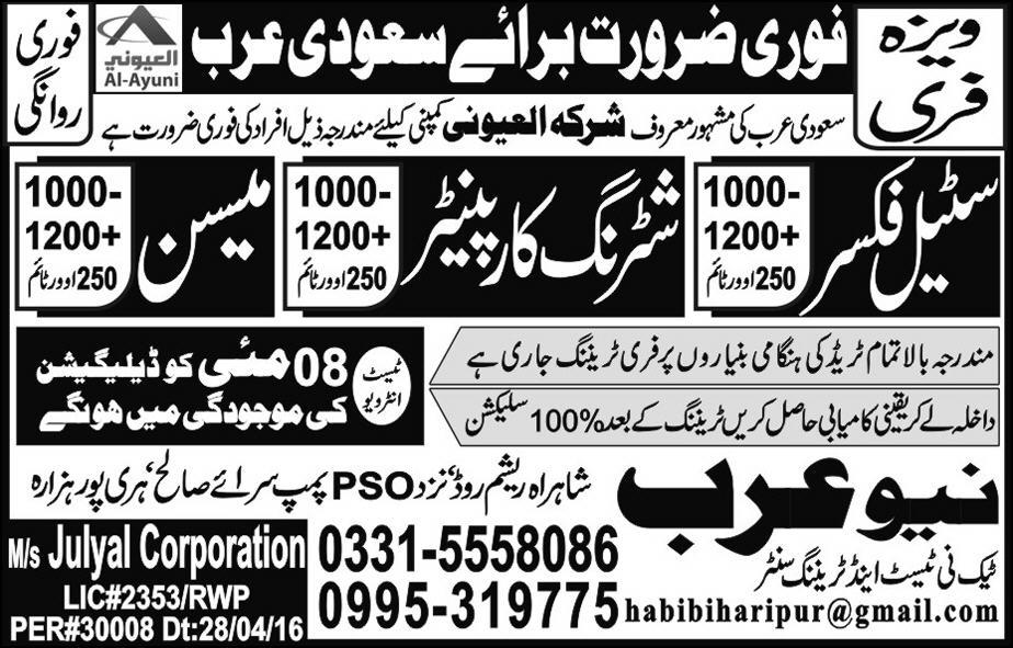 Shuttering Carpenter and Steel Fixer in Saudi Arabia Jobs 2016