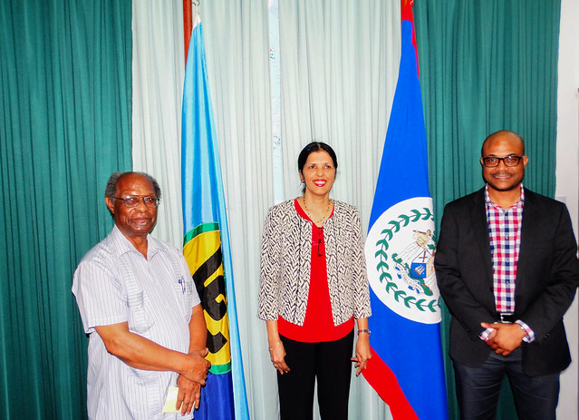 Dr. Kenrick Leslie, Executive Director, CCCCC; Ambassador Manorma P. Soeknandan, PhD., Deputy Secretary General of (CARICOM);  and Craig Beresford, Director of Strategic Management at the CARICOM Secretariat.