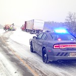 February 2, 2016 - 16:54 - A Portage County (Wisconsin) Sheriff's Office squad stands guard over a semi-truck that slid off the highway during a late winter storm.Credit: Kevin Sorenson, Portage County Sheriff's Office