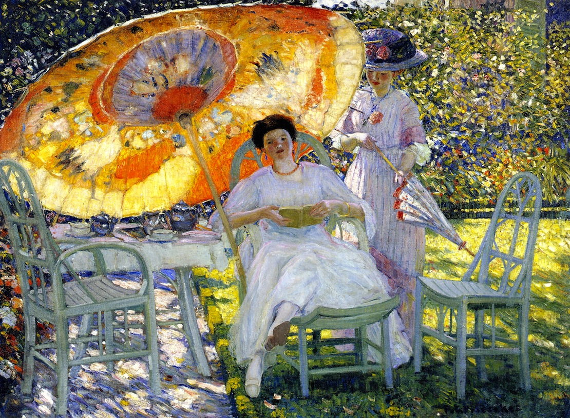 The Garden Parasol by Frederick Carl Frieseke, c. 1910