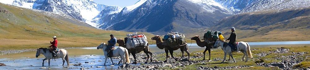 Karawane im Altai-Gebirge unterwegs zum Basislager des Mount Khuiten. Foto: Archiv Härter.