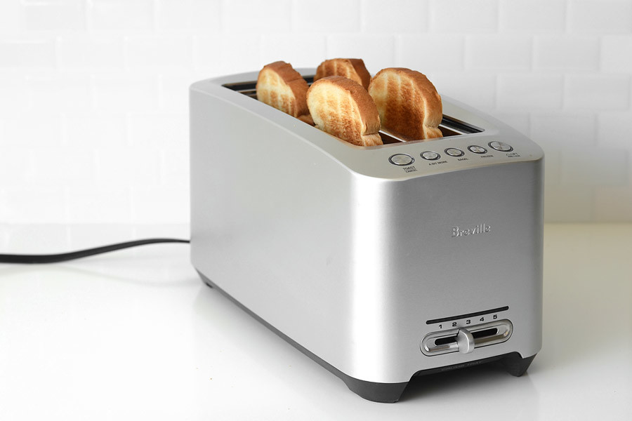 Bread inside two slot toaster